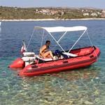 Bimini-Top Elegance mit 3 Bögen in weiß, montiert auf einem Schlauchboot