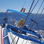 Bimini-Top Prestige am in Artic Blue, montiert auf einem Segelboot