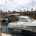 Bimini-Top Sport mit 3 Bögen in beige, montiert auf einem Kabinenboot