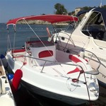 Bimini-Top Sport mit 4 Bögen in rot, montiert auf einem Boot mit Center Konsole