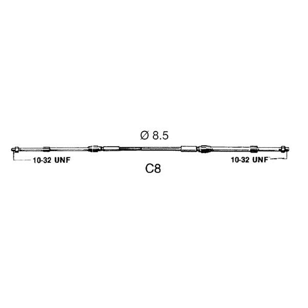 Ultraflex Schaltzug / Schaltkabel - C8 12 / 3,66 m